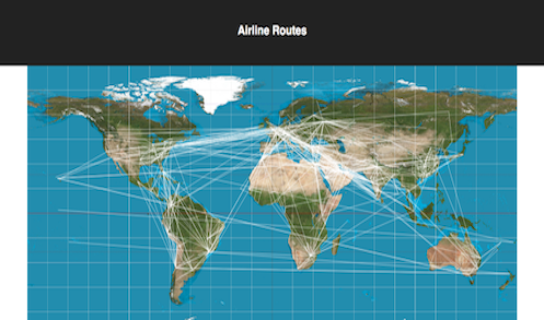 Screenshot of airline             routes viewer application